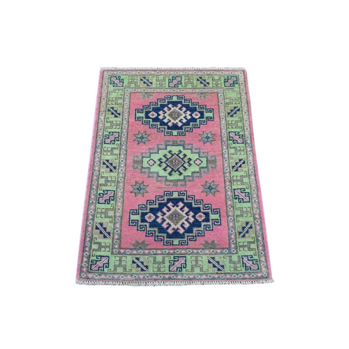 Colorful Pink Fusion Kazak Pure Wool Geometric Design Hand Knotted Oriental