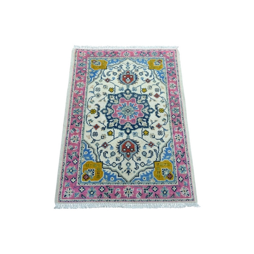 Colorful Ivory Fusion Kazak Pure Wool Hand Knotted Oriental