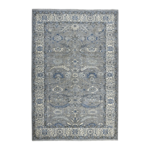 Gray Peshawar With Ziegler Mahal Design Silver Wash Hand Knotted Oriental Rug