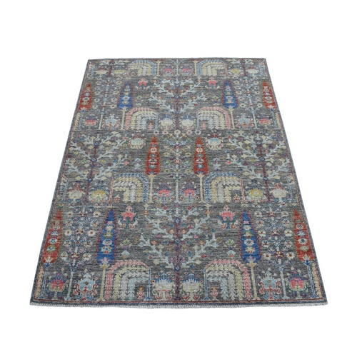 Gray With Pop Of Color Willow And Cypress Tree Design Hand Knotted Oriental Rug