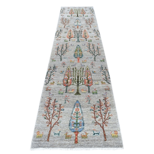 Folk Art Willow And Cypress Tree Design Peshawar With Pop Of Color Runner Hand Knotted Oriental