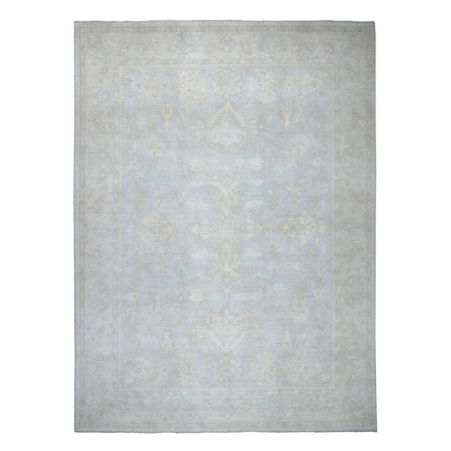 Oversized White Wash Peshawar Pure Wool Hand Knotted Oriental