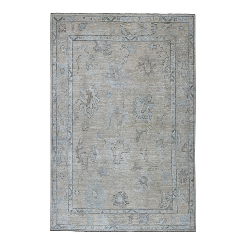 Gray Angora Oushak With Soft wool Hand Knotted Oriental