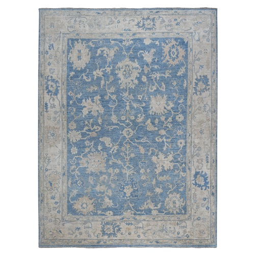 Blue Angora Oushak With Soft Velvety wool Hand Knotted Oriental