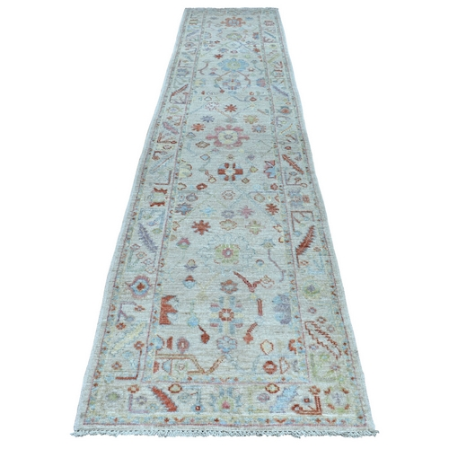Gray Angora Oushak With Velvety Wool Runner Hand Knotted Oriental