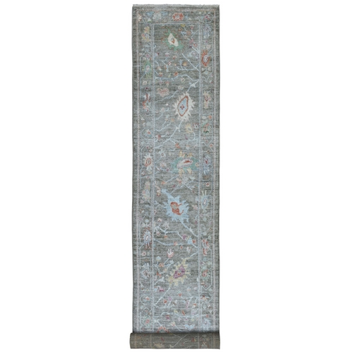Gray Angora Oushak With Soft Velvety Wool XL Runner Hand Knotted Oriental