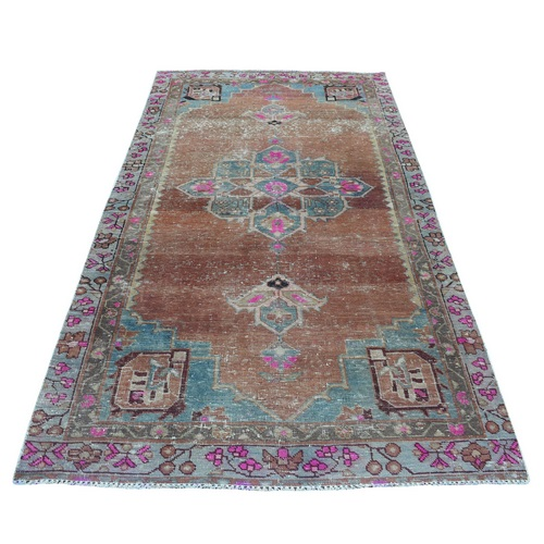 Vintage And Worn Down Wide Runner Persian Qashqai Hand Knotted Bohemian