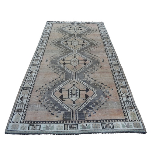 Vintage And Worn Down Distressed Colors Persian Qashqai Wide Runner Hand Knotted Bohemian
