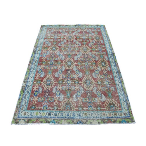 Vintage And Worn Down Persian Qashqai Hand Knotted Bohemian