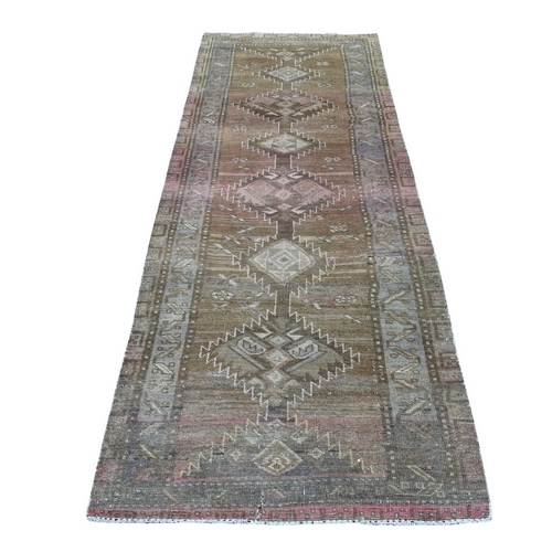 Vintage And Worn Down Persian Shiraz Wide Runner Hand Knotted Bohemian