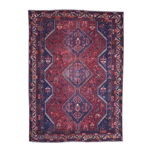 Red Vintage And Worn Down Persian Shiraz Hand Knotted Bohemian