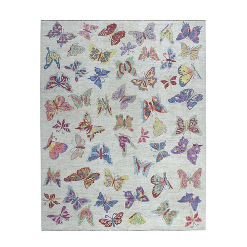 Peshawar with Butterflies Design Organic Wool Hand Knotted Oriental