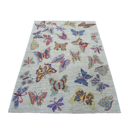 Colorful Butterflies Design With Peshawar Organic Wool Hand Knotted Oriental