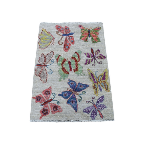 Peshawar With Colorful Butterflies Design Organic Wool Hand Knotted Oriental