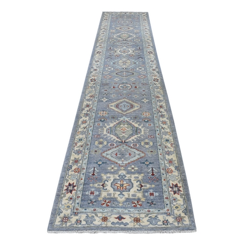 Colorful Peshawar With Karajeh Design Natural Wool Runner Hand Knotted Oriental