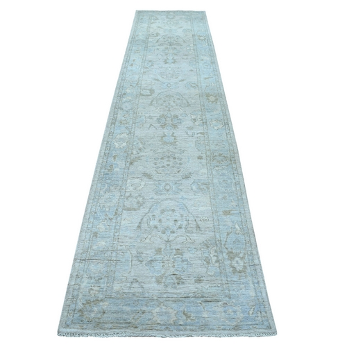 Gray Angora Oushak with Soft Velvety Wool Hand Knotted Runner Oriental