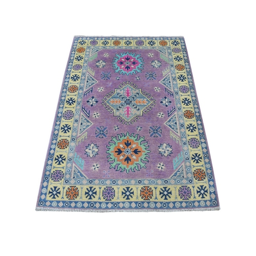 Colorful Purple Fusion Kazak Pure Wool Hand Knotted Oriental Rug