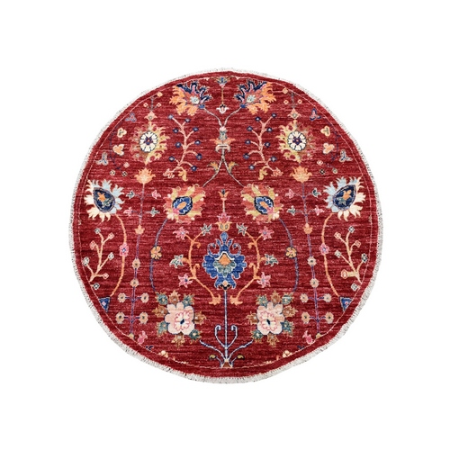 Colorful Round Peshawar Natural Wool Hand Knotted Oriental