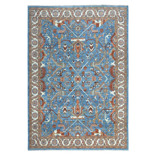 Blue Peshawar With Heriz Geometric Design Organic Wool Hand Knotted Oriental