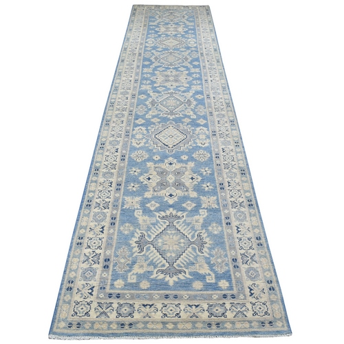 Blue Vintage Look Kazak XL Runner Hand Knotted Natural Wool Hand Knotted Oriental