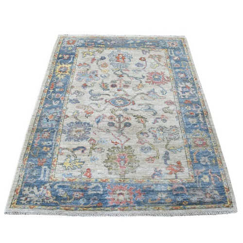 Hand Knotted Ivory Angora Oushak In A Colorful Palette Pure Wool Oriental