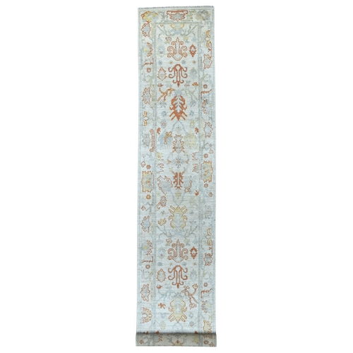 Hand Knotted Light Gray With Pop Of Color Angora Oushak Pure Wool XL Runner Oriental