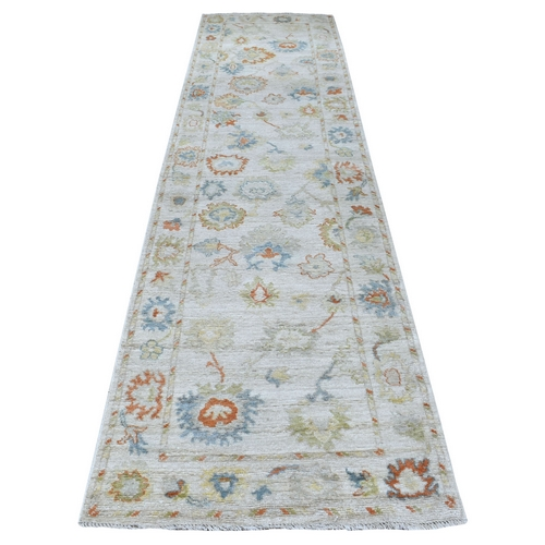 Gray Angora Oushak With Floral Motifs Pure Wool Hand Knotted Oriental Runner