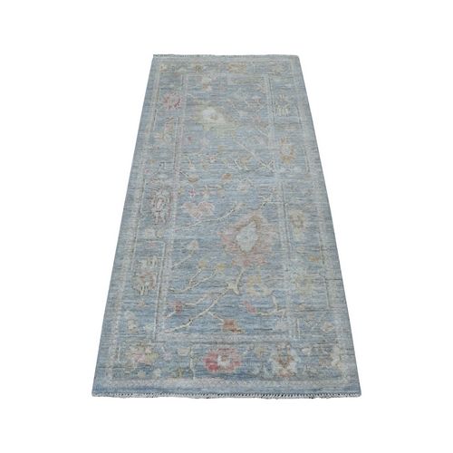 Stone Wash Gray Angora Oushak With Soft Velvety Wool Hand Knotted Oriental