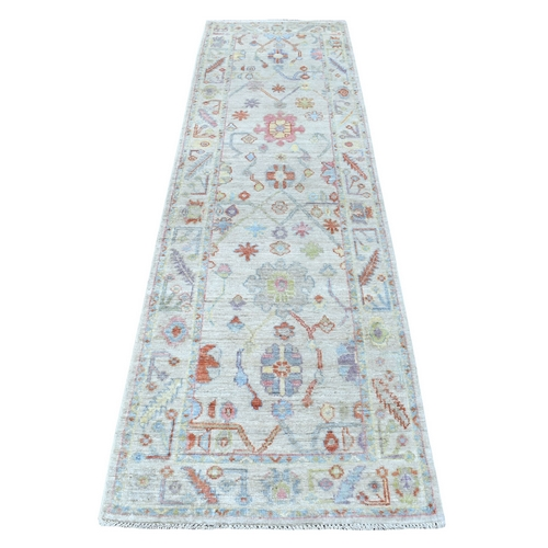Light Gray Angora Oushak In A Colorful Palette Pure Wool Hand Knotted Oriental Runner