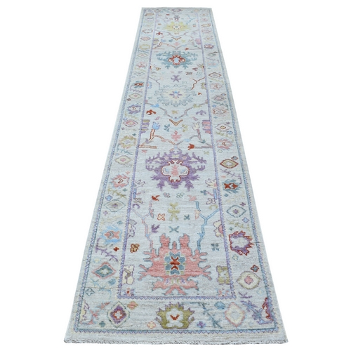 Hand Knotted Gray With Soft Colors Angora Oushak Pure Wool Oriental Runner