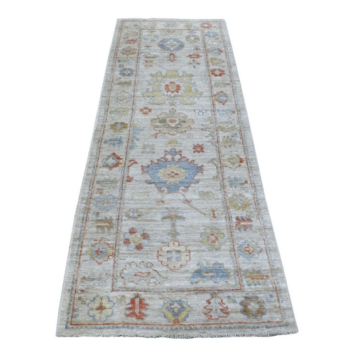 Gray Angora Oushak With Soft And Supple Wool Hand Knotted Oriental Runner