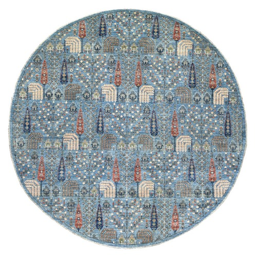 Round Blue Willow And Cypress Tree Design Organic Wool Hand Knotted Borderless Oriental