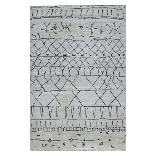 Gray Organic Wool Arts And Crafts With Moroccan Berber Boujaad Design Hand Knotted Oriental