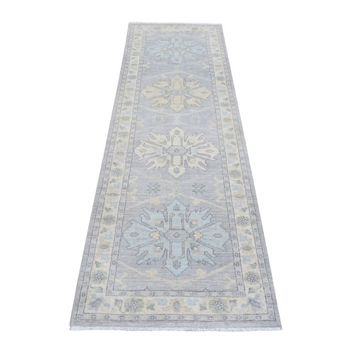 Gray Stone Wash Peshawar Pure Wool Hand Knotted Oriental Runner