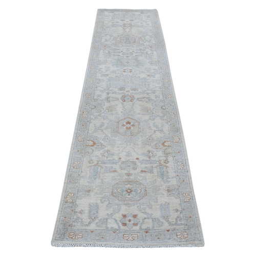 Washed Out Peshawar Pure Wool Hand Knotted Oriental Runner