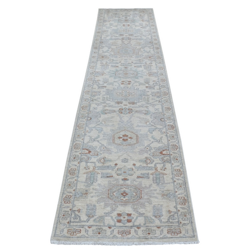 White Wash Peshawar Natural Wool Hand Knotted Oriental Runner