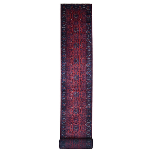 Afghan Khamyab XL Runner Natural Dyes Velvety Wool Hand Knotted Oriental