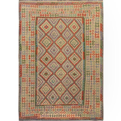 Colorful Afghan Reversible Kilim Pure Wool Hand Woven Oriental