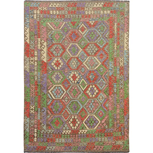 Colorful Reversible Flat weave Afghan Kilim Pure Wool Hand Woven Oriental