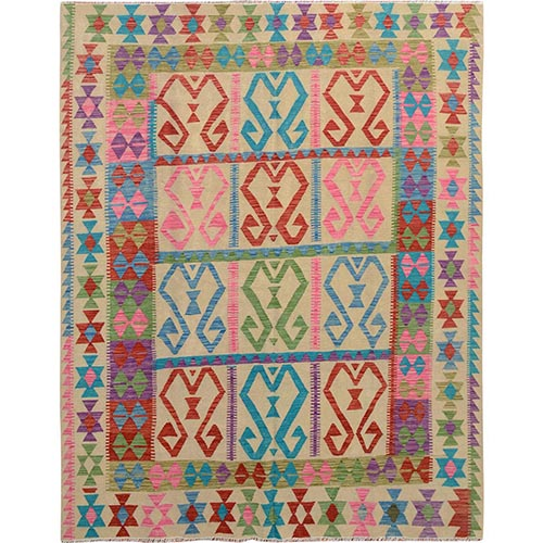 Colorful Reversible Afghan Kilim Vegetable Dyes Pure Wool Hand Woven Oriental