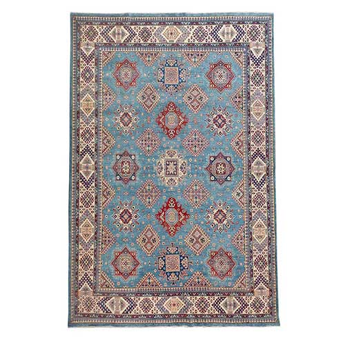 Blue Special Kazak Geometric Design Pure Wool Hand Knotted Oriental