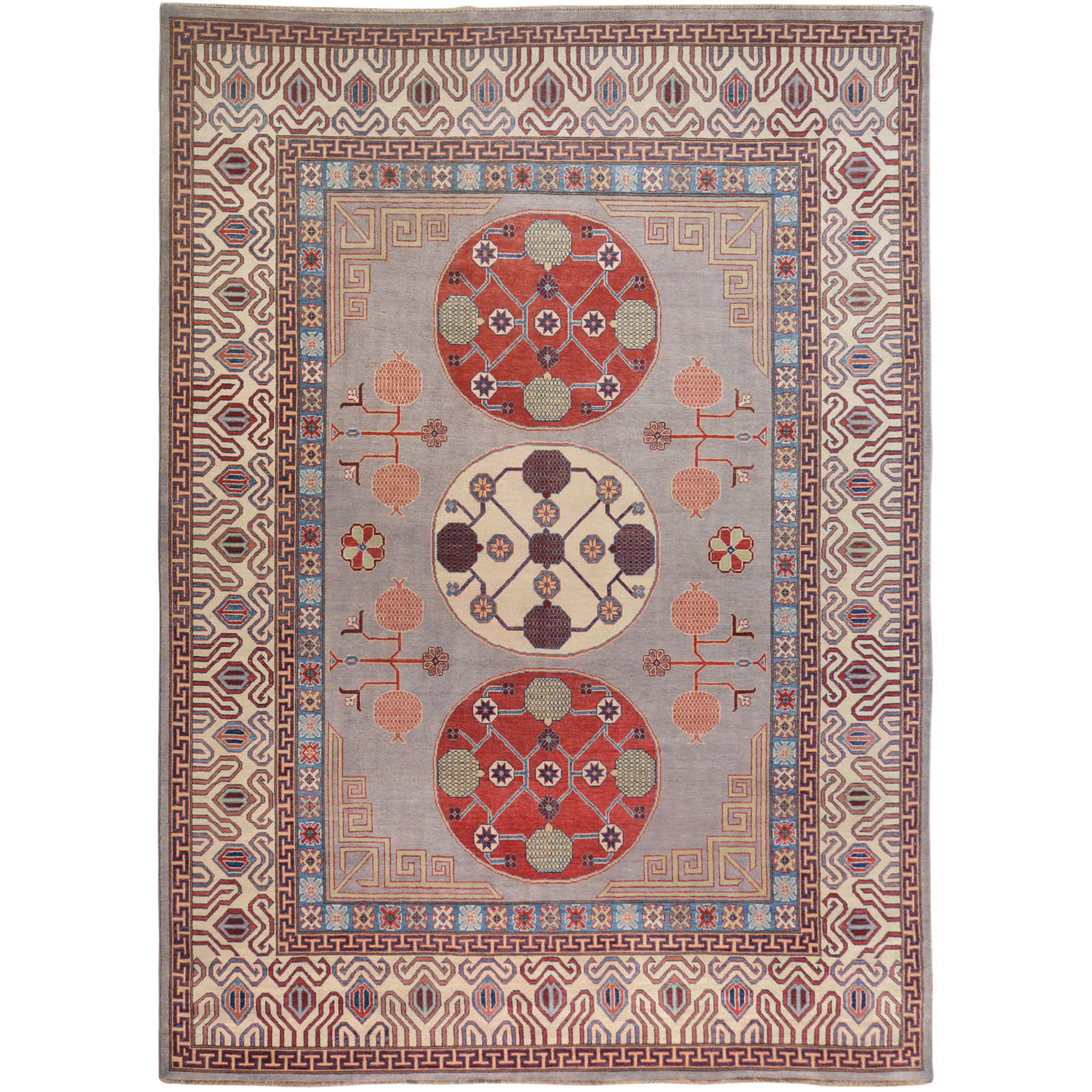 Gray Special kazak With Khotan Design Pure Wool Hand Knotted Oriental
