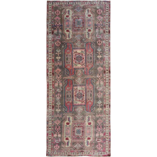 Gray Old And Worn Down North West Persian Wide Runner Hand Knotted Oriental