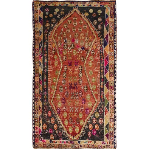 Burnt Orange Persian Gabbeh Old And Worn Down Pure Wool Hand Knotted Oriental Rug