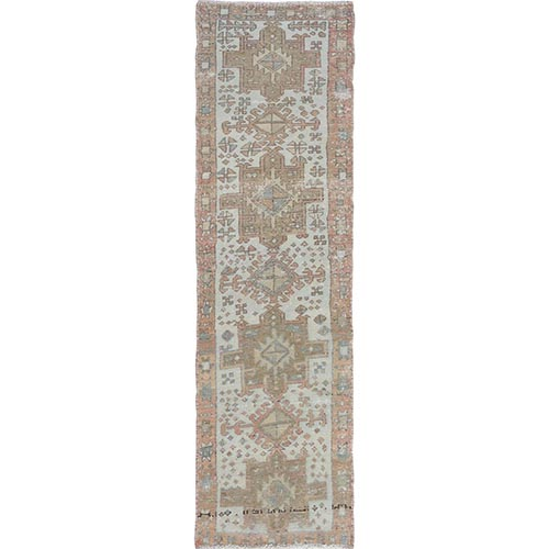 Vintage And Worn Down Persian Karajeh Hand Knotted Runner Oriental