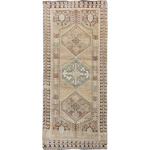 Earth Tone Colors Worn Down And Vintage Persian Shiraz Runner Pure Wool Oriental