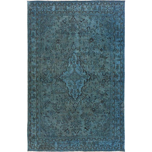 Blue Overdyed Vintage Persian Lilahan Worn Down Hand Knotted Oriental