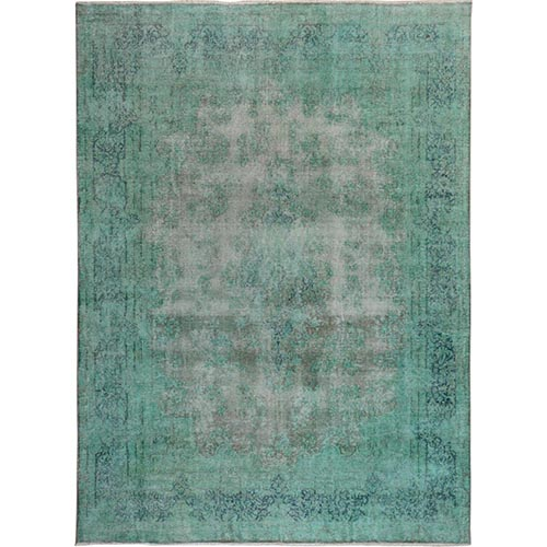 Green Overdyed and Vintage Worn Down Persian Kerman Hand Knotted Pure Wool Oriental