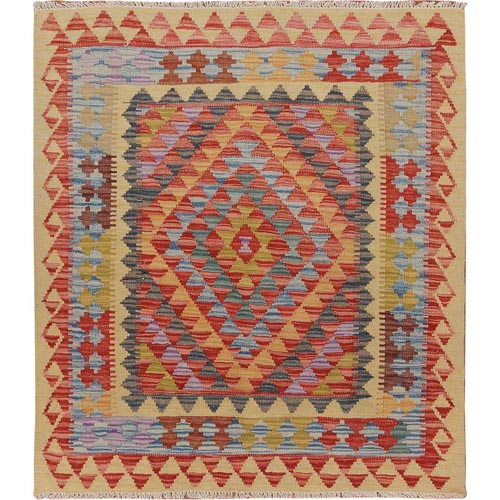 Colorful Reversible Afghan Kilim Flat Weave Pure Wool Hand Woven Square Oriental
