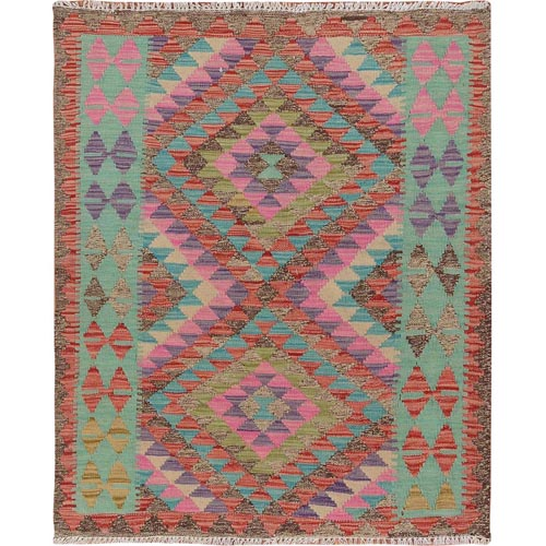 Colorful Afghan Reversible Kilim Pure Wool Hand Woven Square Oriental
